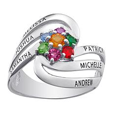 Sterling Silver Family Name And Birthstone Swirl Ring