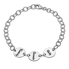 Sterling Silver Family Name Disc Bracelet - 3 Names