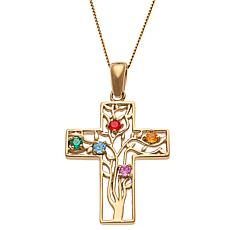 Sterling Silver Filigree Family Cross Pendant Necklace