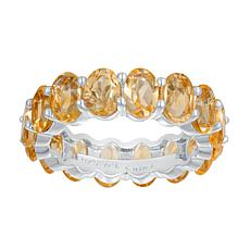 Sterling Silver Gemstone Oval-Cut Stone Eternity Band Ring