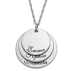 Sterling Silver Layered Family Name Triple-Disc Pendant with Chain