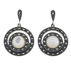 Sterling Silver Marcasite and Mother-of-Pearl Circle Drop Earrings