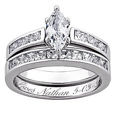 Sterling Silver Marquise CZ 2-PC Engraved Wedding Ring Set