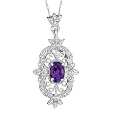 Sterling Silver Oval-Cut Amethyst and Diamond Necklace