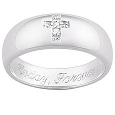 Sterling Silver Pavé Diamond Cross Engravable Ring