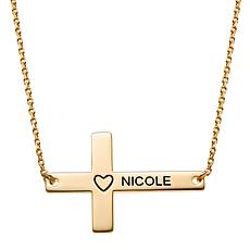 Sterling Silver Personalized Name Sideways Cross with Heart Necklace
