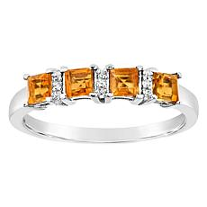 Sterling Silver Princess-Cut Gemstone and Diamond Accent Band Ring