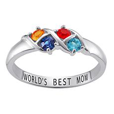 Sterling Silver Round Birthstone Crystal Band Ring - 4 Stones