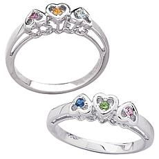 Sterling Silver Sisters Birthstone Heart Ring