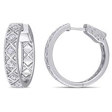 Sterling Silver White Sapphire Textured Hoop Earrings