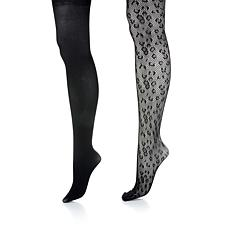 Steve Madden 2-pack Solid and Leopard Openwork Tights