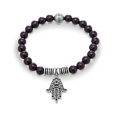 Steve Madden Black Bead Hamsa Design Stretch Bracelet
