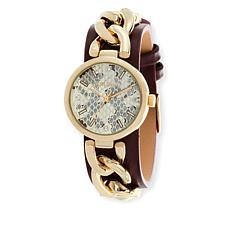 Steve Madden Goldtone Curb-Link Burgundy Leather Strap Watch