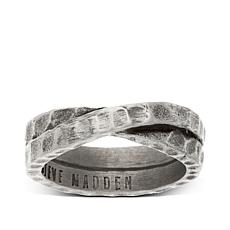 Steve Madden Hammered Crossover Stainless Steel Ring