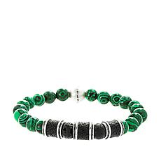 Steve Madden Men's Lava and Simulated Malachite Bead Stretch Bracelet