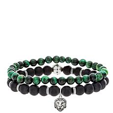 "Steve Madden Men's ""Lion"" Charm Bead Stretch Bracelet 2-piece Set"