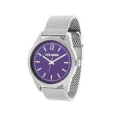 Steve Madden Men's Silvertone Blue Dial Mesh Watch
