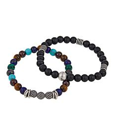 Steve Madden Set of 2 Multicolor and Black Bead Stretch Bracelets