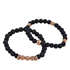 Steve Madden Set of 2 Simulated Onyx and Lava Bead Stretch Bracelets