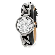 Steve Madden Silvertone Curb-Link Gray Leather Strap Watch