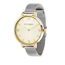 Steve Madden Women's 2-tone Round Dial Mesh Band Watch