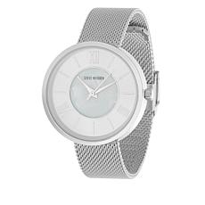 Steve Madden Women's Silvertone Sunray Dial Mesh Band Watch