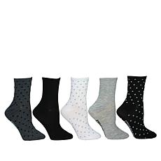 Steven by Steve Madden 5-pack Dot and Solid Crew Socks