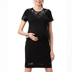 Stowaway Collection Leather and Lace Maternity Dress