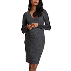 Stowaway Collection Sweater Maternity Dress with Faux Suede Detail
