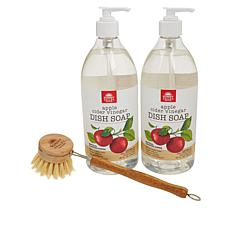 Sunny Valley Orchard 3-piece Natural Dish Soap with Brush Kit