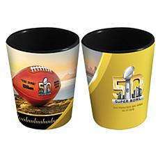 Super Bowl 50 Set of 2 Ceramic Black Shot Glasses/2 oz.