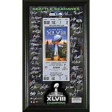 Super Bowl XLVIII Replica Ticket/Signatures/Seahawks