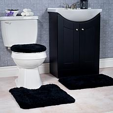 Super Plush 3-piece Non-Slip Bath Mat Rug Set - Black