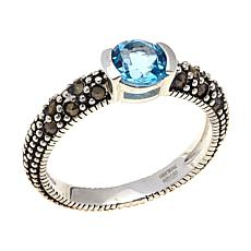 Swiss Blue Topaz & Marcasite Sterling Ring - December