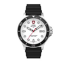 "Swiss Military by Charmex ""Diving"" White Dial Silicone Strap Watch"