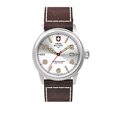 """Swiss Military by Charmex """"Vintage"""" Silvertone Brown Leather Watch"""