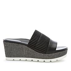Tahari Gigi Leather Slip-On Wedge Sandal