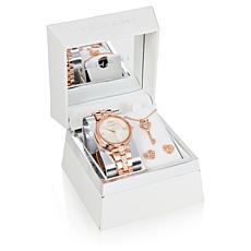 Tahari Rosetone Women's Crystal Watch and Heart Jewelry Set