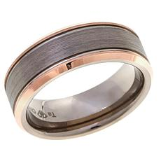 Tantalum Rosetone & Gray Brushed 8mm Wedding Band Ring
