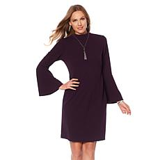 Tash + Sophie Mock Neck Dress with Bell Sleeves