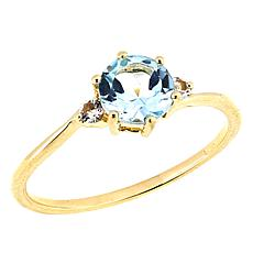 Technibond® 1.05ctw Round Blue Topaz and White Topaz Ring
