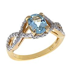 Technibond® 1.36ctw Blue Topaz Diamond-Accented Ring
