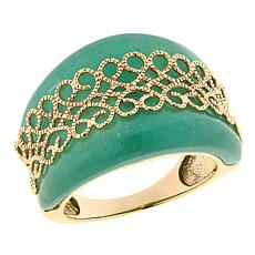 Technibond® Aventurine Scrollwork Band Ring