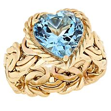 Technibond® Blue Topaz Heart Byzantine Band Ring