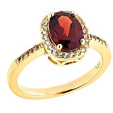 Technibond® Garnet and White Topaz Halo Ring