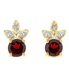 Technibond® Garnet Diamond-Accented Leaf Design Stud Earrings