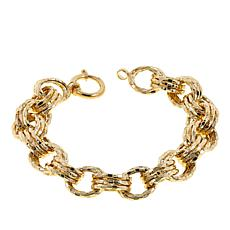 "Technibond® Hammered Rolo-Link 3-Row 8"" Bracelet"