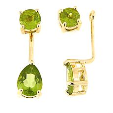 Technibond® Peridot Stud Earrings with Removable Ear Jackets