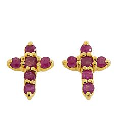 Technibond® Ruby Small Cross Stud Earrings