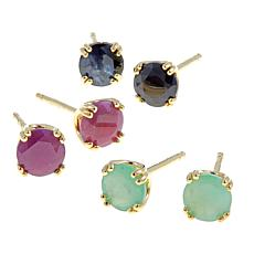 Technibond® Set of 3 Precious Gem Stud Earrings